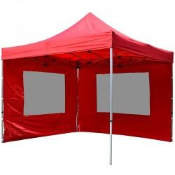 Gazebo pieghevole in alluminio per mercatini 3x3 rosso