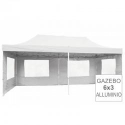 Gazebo pieghevole in alluminio per mercatini 6x3 bianco