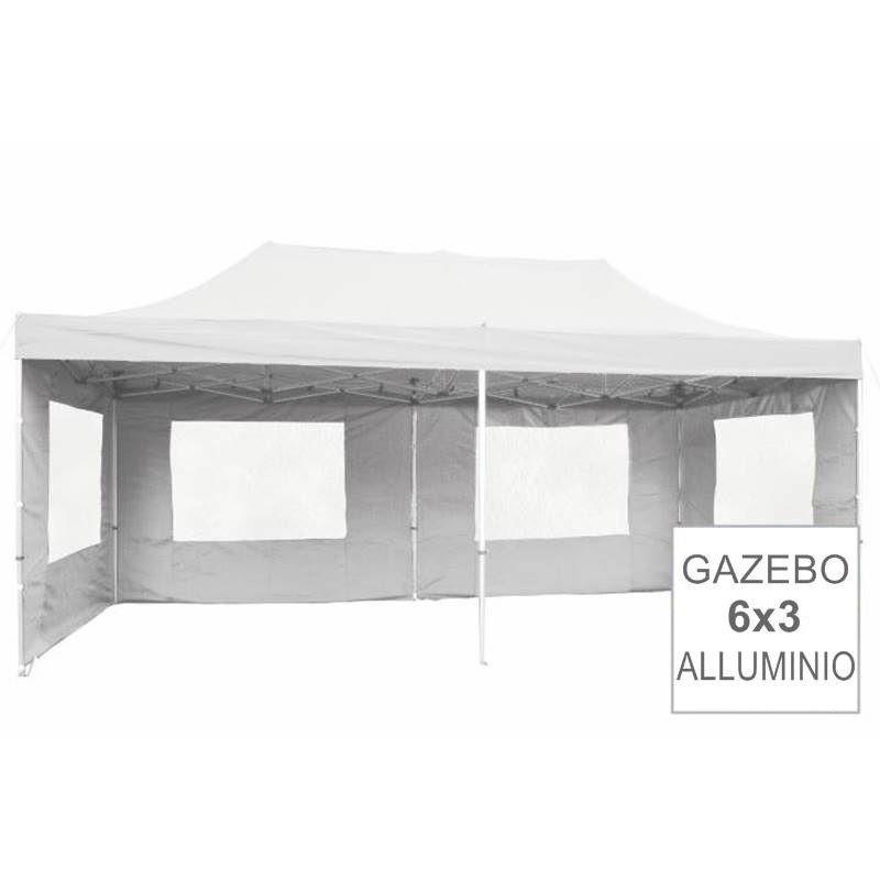 Gazebo Pieghevole Professionale In Alluminio Per Mercatini 6x3 Bianco