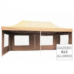 Gazebo pieghevole in alluminio per mercatini 3x6 beige