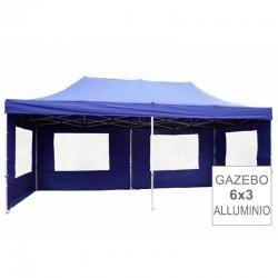 Gazebo pieghevole portatile in alluminio per fiere 6x3 blu