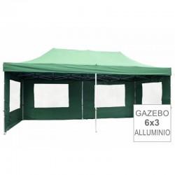 Gazebo pieghevole richiudibile in alluminio 3x6 verde