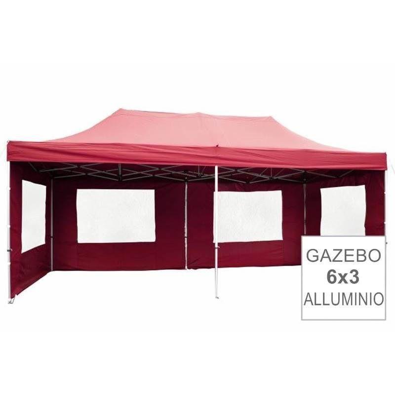 Gazebo pieghevole richiudibile in alluminio per fiere 3x6 bordeaux
