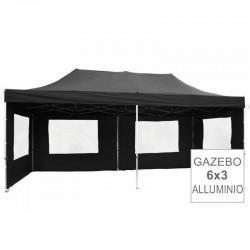 Gazebo pieghevole in alluminio per fiere mercatini 6x3 nero