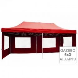 Gazebo pieghevole in alluminio per mercatini 6x3 rosso