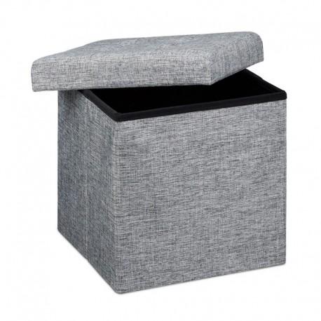 Pouf contenitore e poggiapiedi quadrato in tessuto