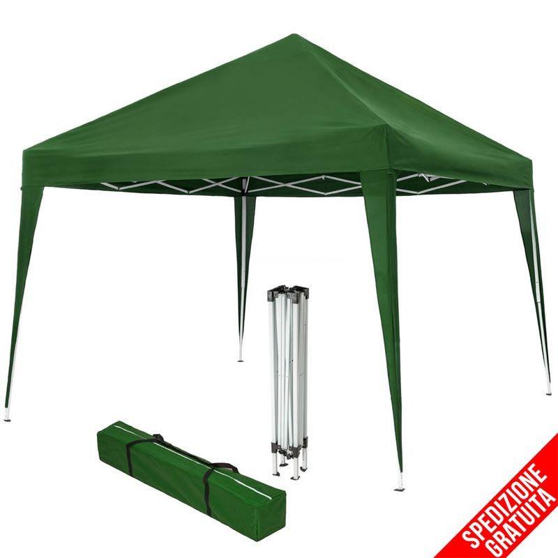 Gazebo Campeggio Pieghevole.Gazebo Pieghevole 3x3 Per Mercatini E Campeggio Verde