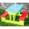 Tavolino panchine e ombrellone da giardino per bambini