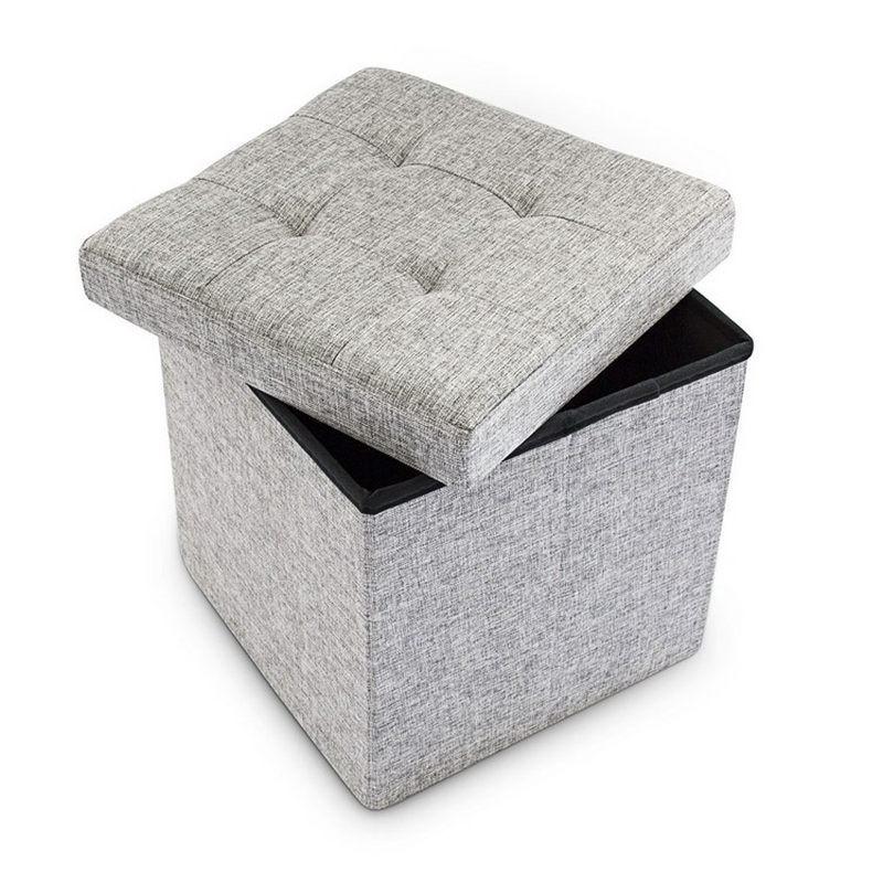 pouf contenitore e poggiapiedi quadrato in tessuto. Black Bedroom Furniture Sets. Home Design Ideas