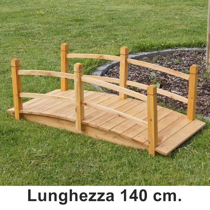 Ponticello in legno per laghetto artificiale giardino da 140 cm - Laghetti da giardino ...