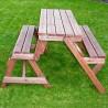 Panchina trasformabile in tavolo e due panche in legno da esterno