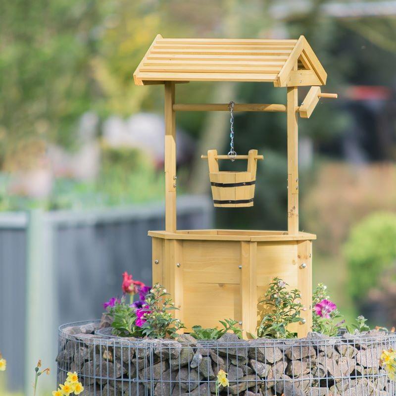 pozzo finto ornamentale da giardino in legno