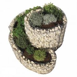 Gabbione a spirale per aiuole con muro in pietra per orto rialzato