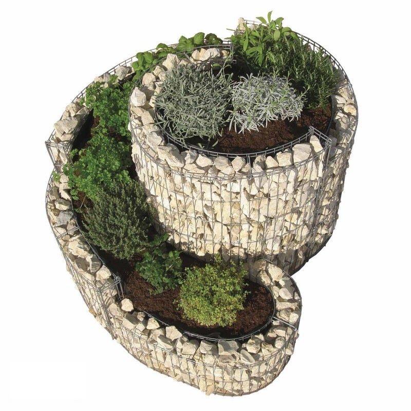 Gabbione a spirale 110x90 cm per orto e giardino rialzato - Fioriere da esterno in pietra ...