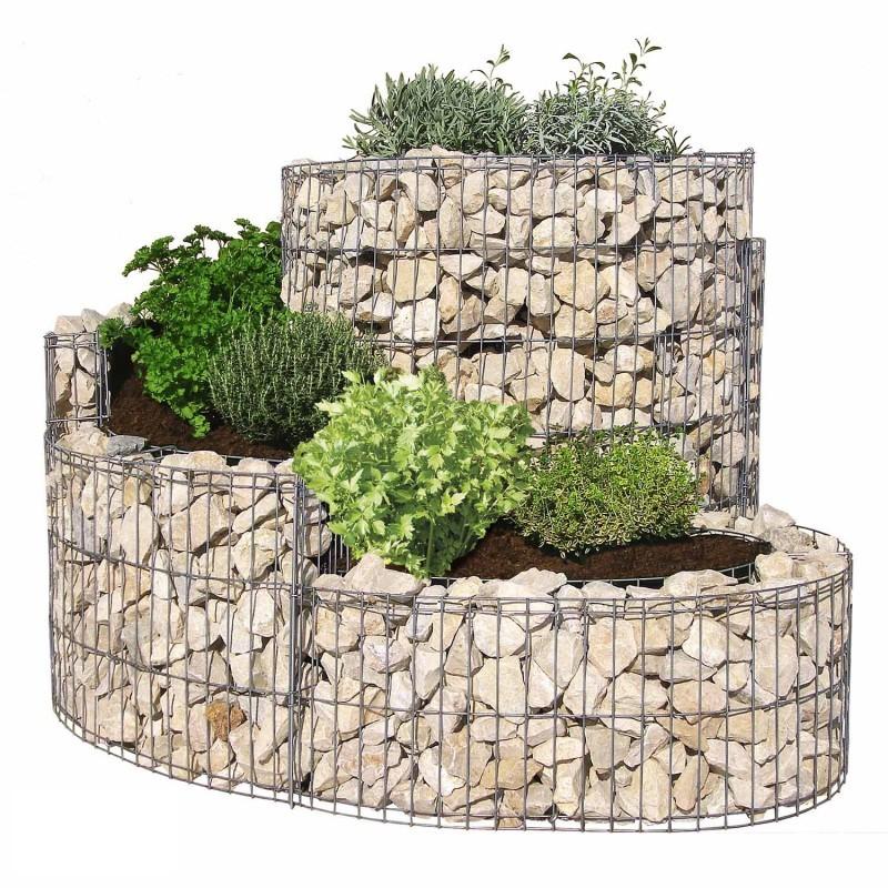 Gabbione a spirale 110x90 cm per orto e giardino rialzato for Aiuole in sassi