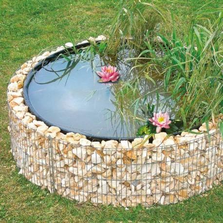 Laghetto artificiale da giardino con gabbione rotondo for Cascata artificiale da giardino