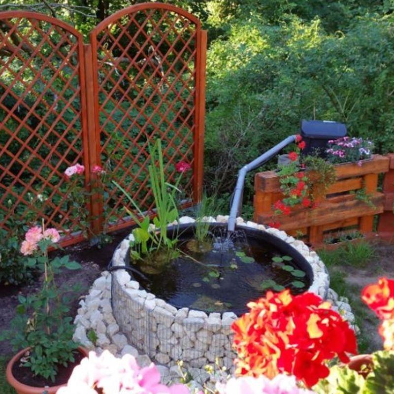 Laghetto artificiale da giardino con gabbione rotondo for Animali da laghetto