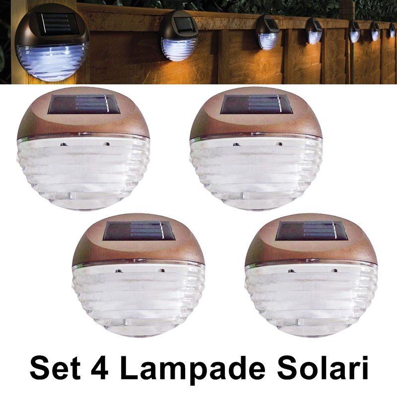 Lampade solari da giardino per montaggio a parete, set 4 pezzi