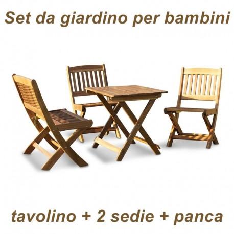 Tavolino, sedie e panca in legno da giardino per bambini