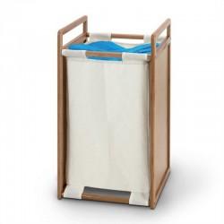 Porta biancheria bagno in legno e tessuto