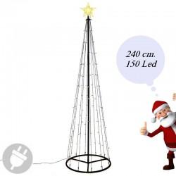 Albero di Natale moderno da esterno con luci Led alto 240 cm.