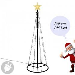Albero di Natale moderno e luminoso da esterno alto 180 cm.