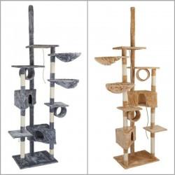 Tiragraffi per gatti con colonne graffiatoio, casette e giochi alto 230 cm.