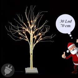Albero di Natale luminoso da interno con Led bianco caldo alto 70 cm.