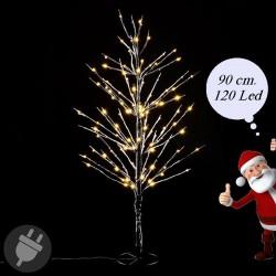 Albero di Natale innevato con luci Led da esterno alto 90 cm.