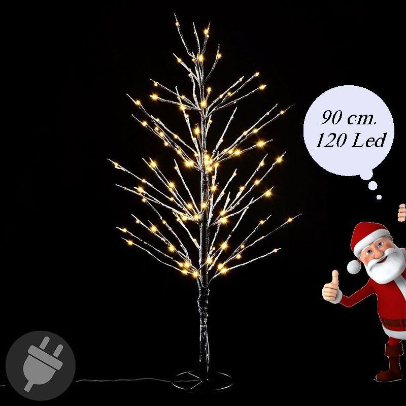 Albero di natale innevato con luci led da esterno alto 90 cm for Luci al led