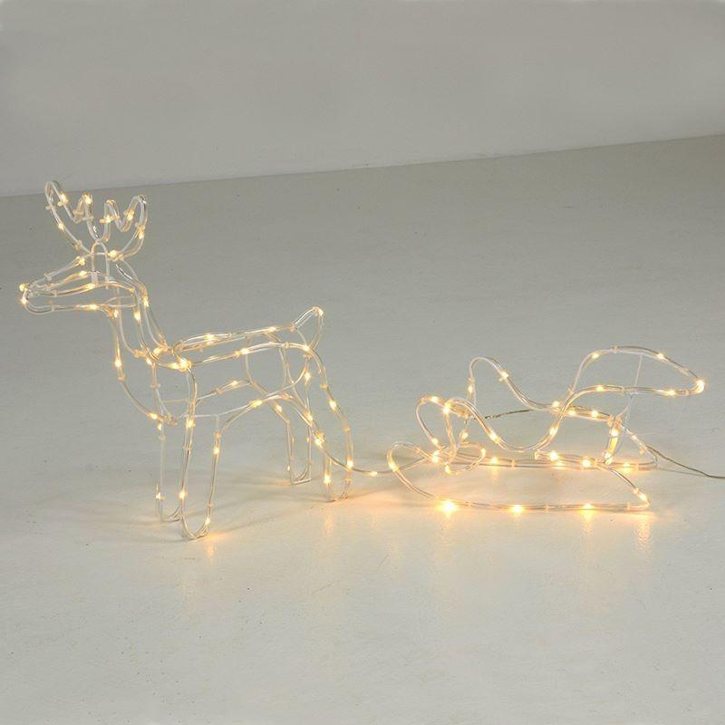 Renna luminosa e slitta con luci led da esterno o interno - Renna natalizia luminosa per giardino ...