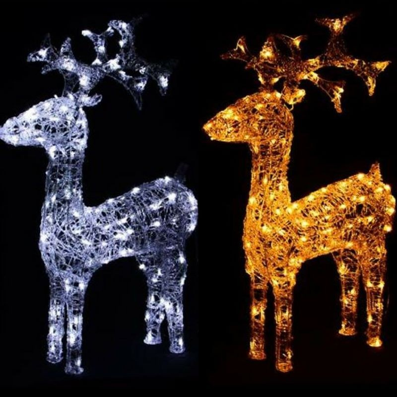 Renne natalizie luminose in acrilico e luci led da esterno for Luci a led esterno
