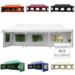 Gazebo pieghevole professionale in alluminio 9x3
