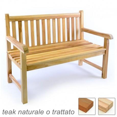 Panchina da esterno e giardino in legno di teak a 2 posti