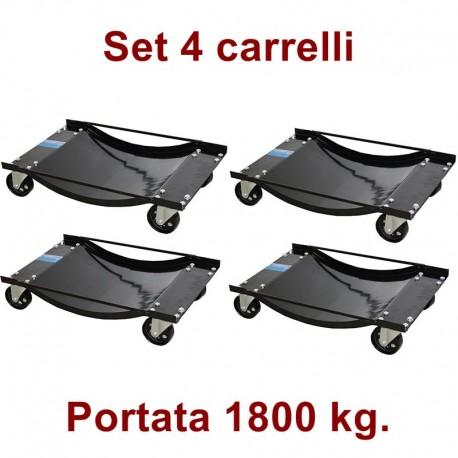 Carrelli sposta auto sottoruota: set 4 pezzi