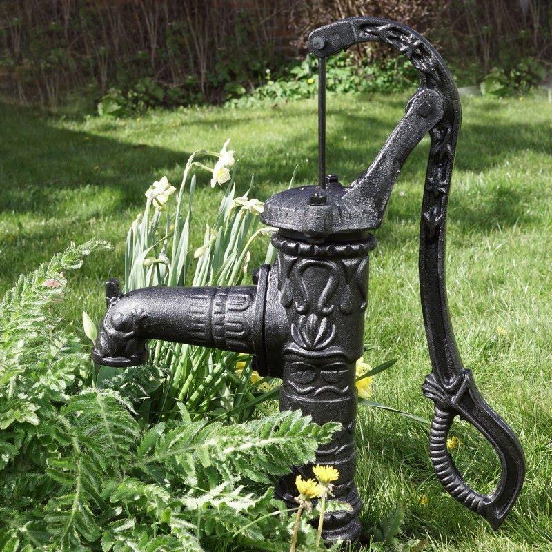 Fontana a mano da giardino con pompa per pozzo in ghisa for Pompe per fontane da giardino