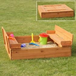 Sabbiera in legno per bambini con panchine