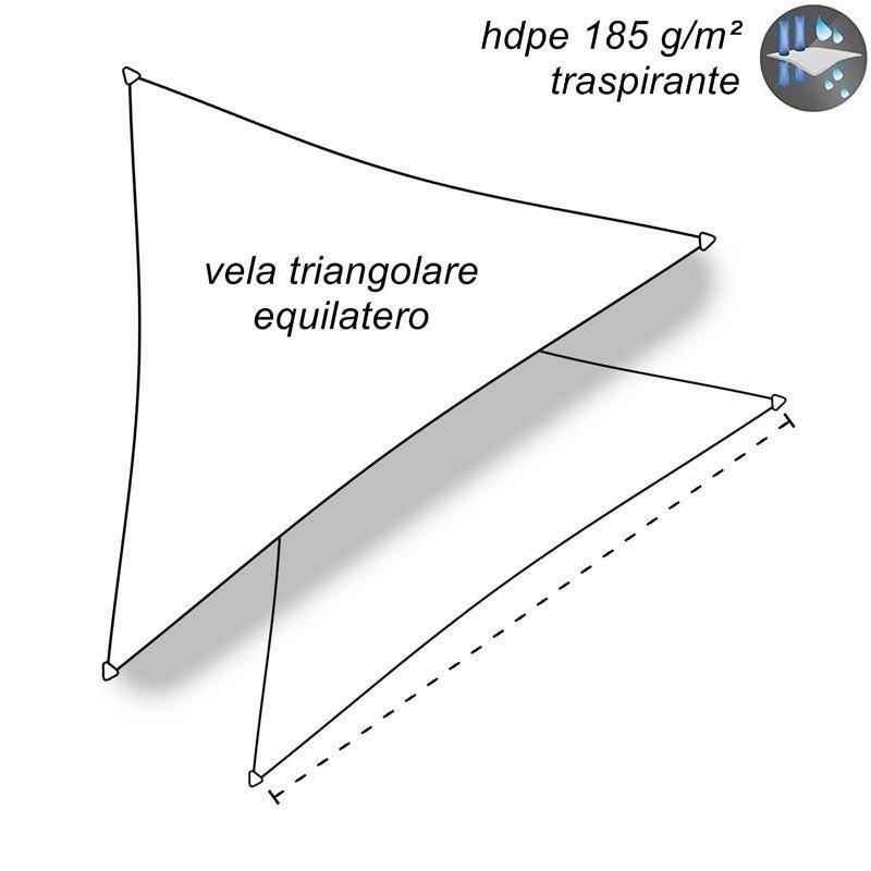 CelinaSun Tenda Parasole a Vela Giardino Balcone HDPE polietilene Traspirante Triangolo 4 x 4 x 4 m Grigio Chiaro