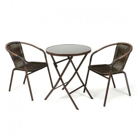Set bistrot tavolo pieghevole e sedie per arredamento esterno