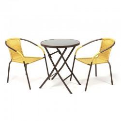 Set bistrot tavolo pieghevole e sedie per arredo esterno