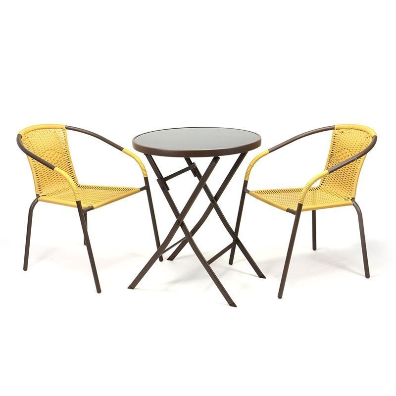 Set bistrot tavolo pieghevole e 2 sedie per arredo esterno
