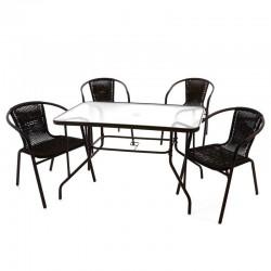 Set bistrot tavolo rettangolare e 4 sedie per arredamento esterno