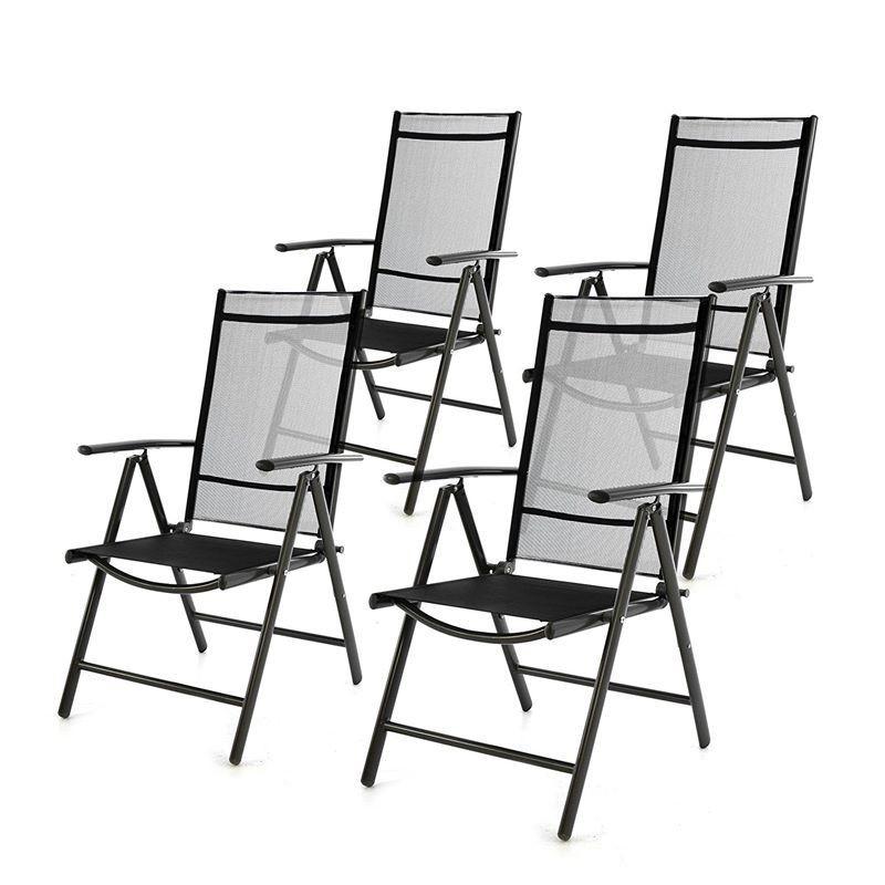 Sedie Reclinabili Da Esterno.Sedie Da Giardino Pieghevoli Reclinabili In Alluminio Antracite Nero