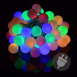 Catena luminosa da esterno con 50 palline led multicolor