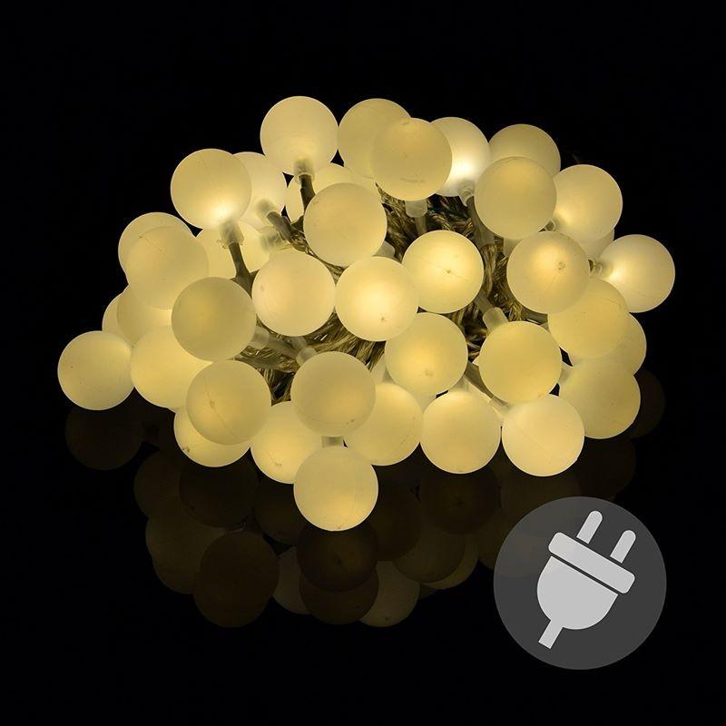 Catena Luminosa Da Esterno O Interno Con 50 Palline Led A Luce Calda
