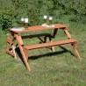 Panchina trasformabile in tavolo e due panche in legno da giardino