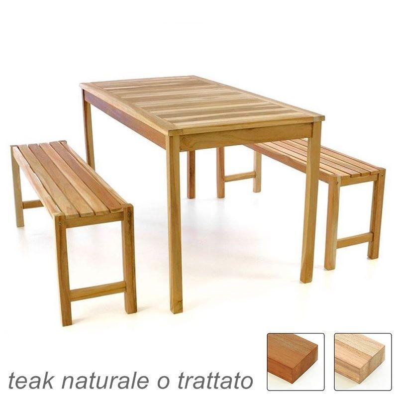 Tavolo Di Legno Per Esterno.Tavolo Con Panche Da Esterno E Giardino In Legno Di Teak