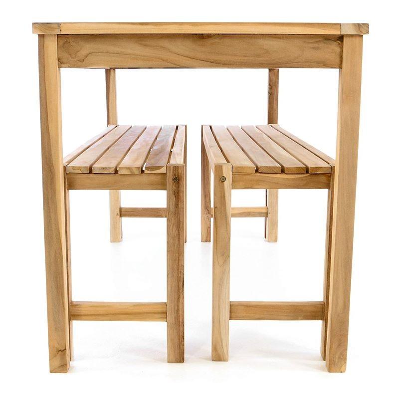 Tavolo con panche da esterno e giardino in legno di teak