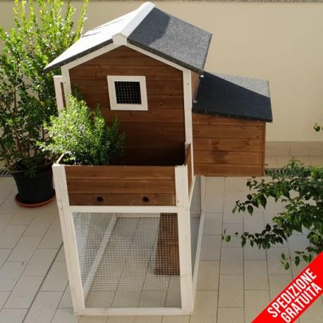 Pollaio da giardino in legno con casetta e recinto