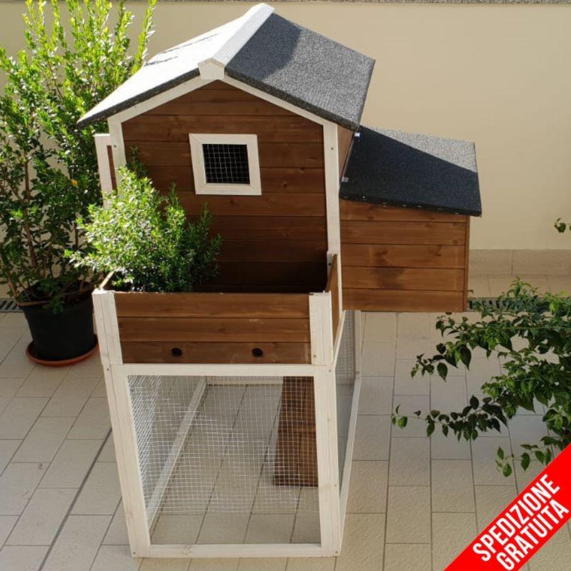 pollaio da giardino in legno con casetta e recinto 2/3 galline